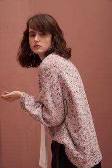 城市格调秋冬粉色时尚毛衣