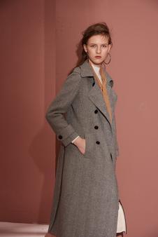 城市格调秋冬灰色长款双排扣大衣