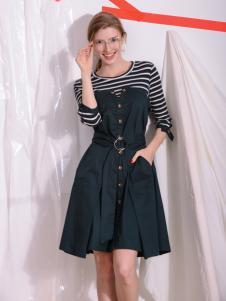 Sapgale熙+墨绿假两件连衣裙