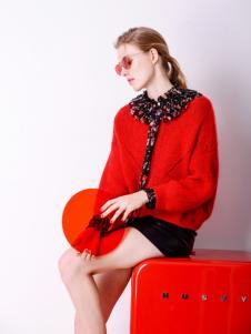 Sapgale熙+红色针织外套