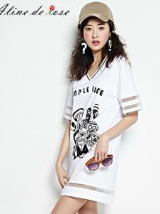 Aline de Rose女装白色字母T恤