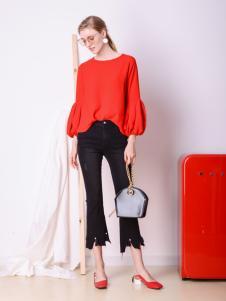 Sapgale熙+红色时尚T恤