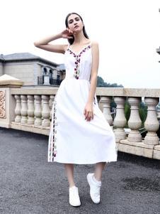 她之曲女装白色连衣裙