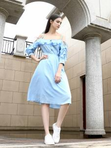 她之曲女装她之曲女装蓝色漏肩连衣裙