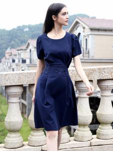 她之曲女装蓝色连衣裙