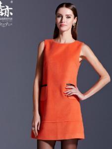 青亦女装橘红无袖连衣裙