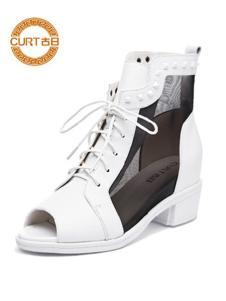 古日女鞋白色网纱鱼嘴鞋