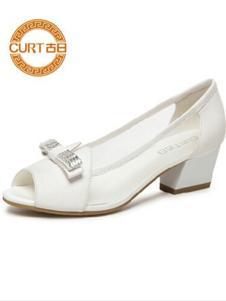 古日女鞋白色低跟鱼嘴鞋