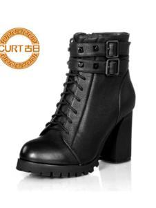 古日女鞋黑色高跟马丁靴