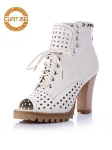 古日女鞋白色镂空鱼嘴鞋