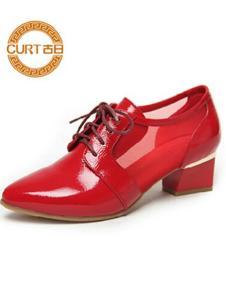 古日女鞋红色低跟皮鞋