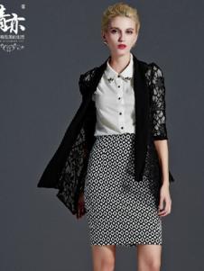 青亦女装黑色蕾丝外套
