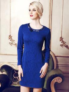 青亦女装深蓝色长袖连衣裙