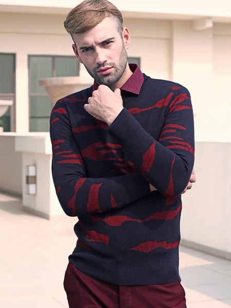 2018富绅男装酒红色条纹衬衫
