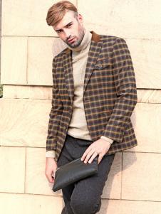 2018富绅男装格子西服外套