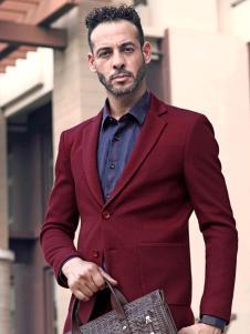 2018富绅男装酒红色西服