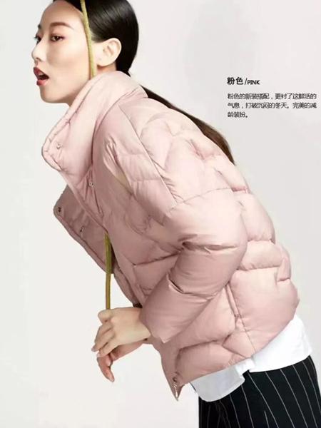 夺宝奇兵女装粉色羽绒服