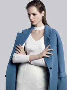 2018夺宝奇兵女装蓝色双面呢大衣