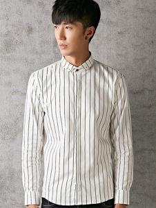 江南传奇男装白色条纹衬衫