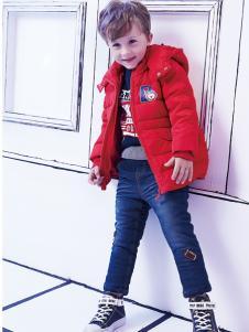 2018杰米熊男童大红色羽绒服