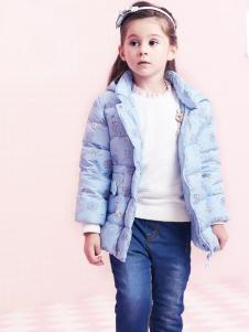 2018杰米熊短款蓝色羽绒服
