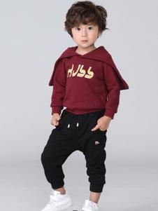 皇室baby童装酒红色字母T恤