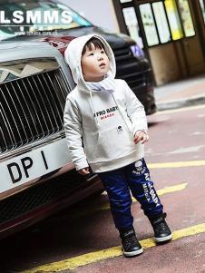 LSMMS童装米白色字母卫衣