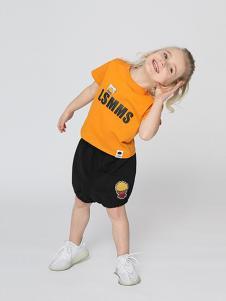 LSMMS童装黄色字母T恤