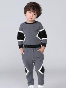 皇室baby童装灰色时尚运动套装
