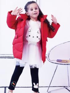 2018杰米熊 女童红色羽绒服