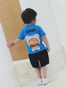 LSMMS童装蓝色卡通字母T恤