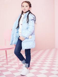 2018杰米熊女童蓝色羽绒服