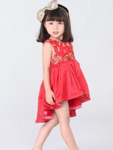 皇室baby童装红色印花女裙