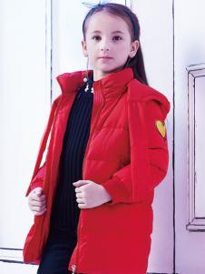 2018杰米熊红色羽绒服女童新款