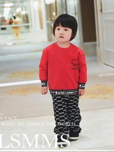 LSMMS童装红色字母T恤