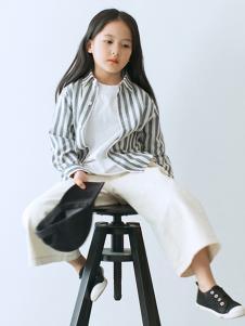 ENHENN童装灰白条纹衬衫
