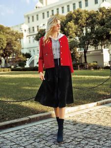 领弟女装红色时尚外套