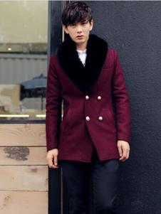 臻杰龙男装酒红色双排扣大衣