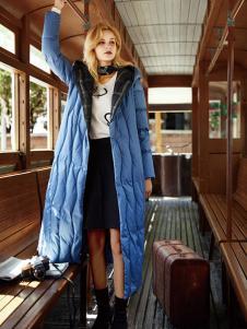 领弟女装蓝色休闲长款棉衣