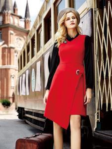 领弟女装红色修身连衣裙