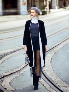 领弟女装黑色长款大衣