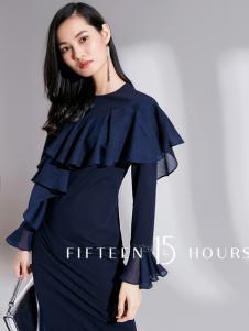 15小时2018新款蓝色连衣裙