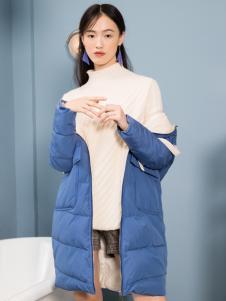 2018布根香女装蓝色羽绒服