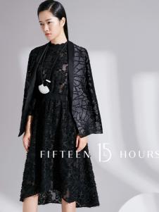 15小时2018短款黑色精致大衣