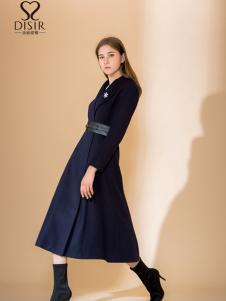 2018DISIR迪丝爱尔蓝色收腰连衣裙
