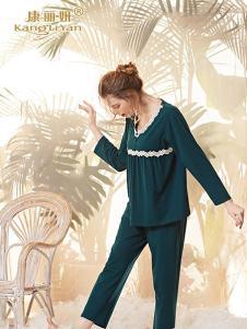 康丽妍女式绿色花边睡衣