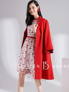 15小时2018新款红色大衣