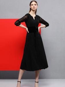 2018艺梦来女装黑色优雅连衣裙