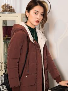 2018布根香女装咖啡色羽绒服