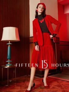 15小时2018新款红色套装裙